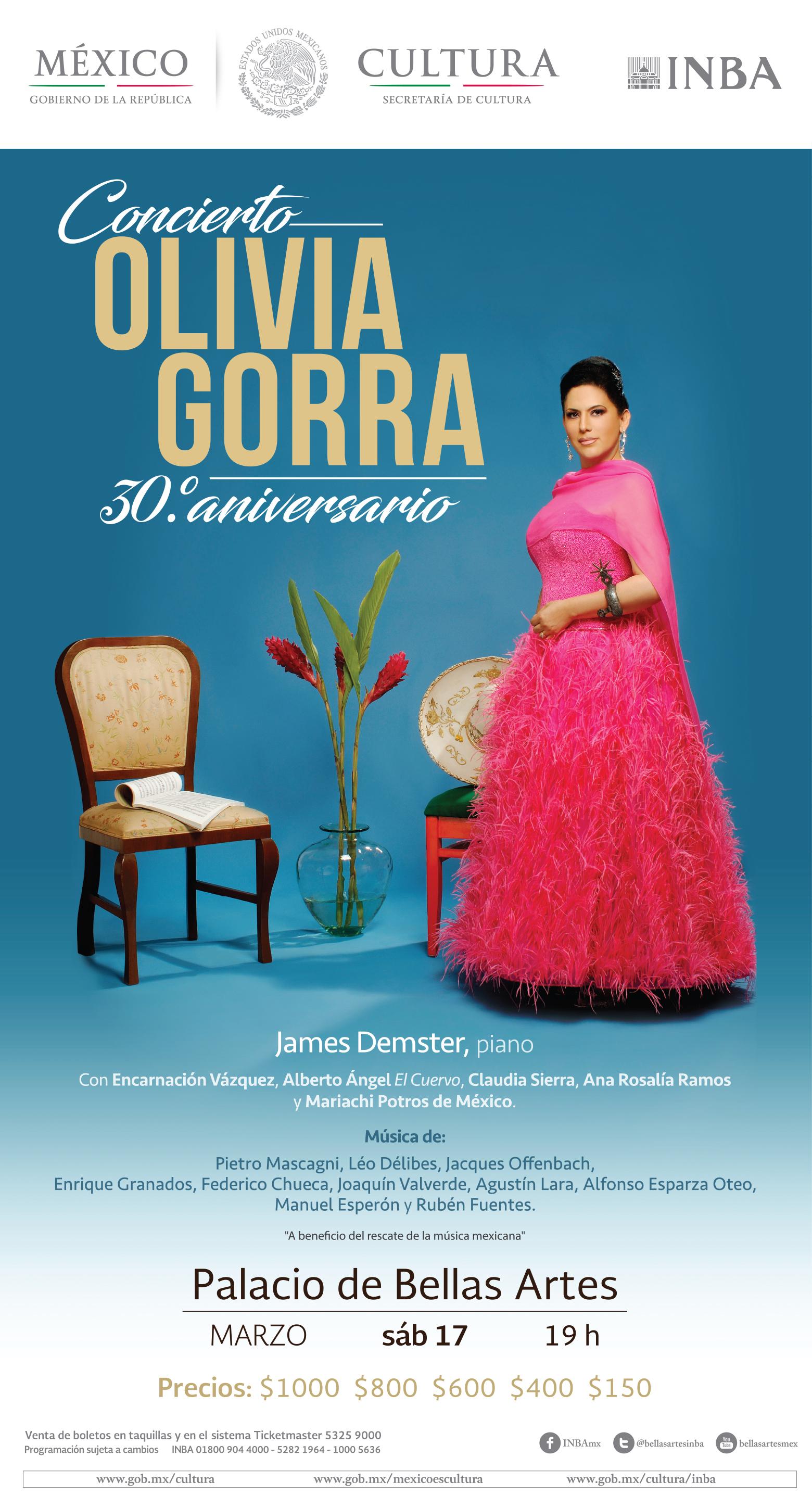 La soprano Olivia Gorra celebrará en Bellas Artes tres décadas de lucha y  éxitos ffab133654b